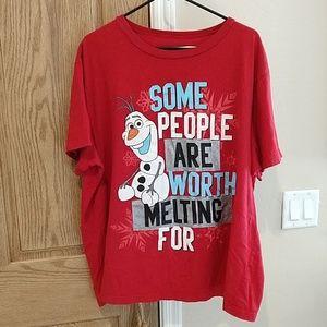 Disney, red 3X Frozen shirt featuring Olaf